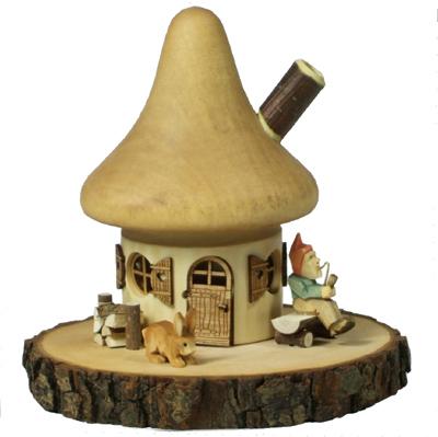 Neuheit  2011: Räucherhaus mit Zwerg braun räucherhaus räucherhäuschen astholz geschnitzt erzgebirge morgenstern Astholz: Räucherhaus mit Zwerg braun