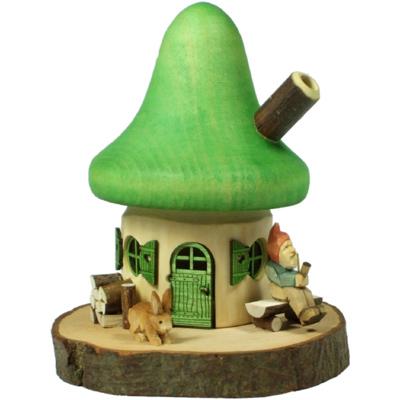 Neuheit 2011: Räucherhaus mit Zwerg grün räucherhäuschen räucherhaus zwerg geschnitzt astholz erzgebirge Räucherhäuschen mit grünem Dach, Astholz