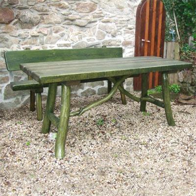 Rustikale Bank und Tisch für den Garten bank tisch garten morgenstern schnitzen erzgebirge Rustikale Bank und Tisch für den Garten aus dem Erzgebirge